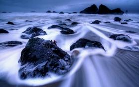 Обои небо, камни, океан, скалы, берег, побережье, обработка