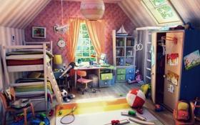 Обои детство, игрушки, комната