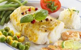 Обои рыба, специи, помидор, креветки, fish, рис, кукуруза