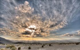 Обои дорога, небо, облака, горы, путь, пустыня, пейзажи