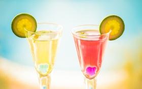 Обои бокалы, коктейль, мята, cocktail, glasses, mint, дольки лайма