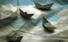 Картинка фон, ткань, кораблики