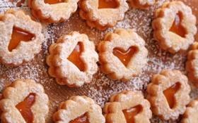 Обои печенье, сердечки, десерт, выпечка, сладкое