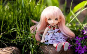 Обои трава, сидит, камень, природа, кукла, розовые волосы, игрушка