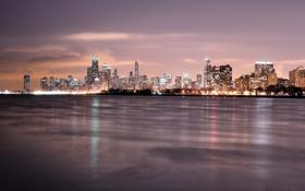 Картинка ночь, огни, Чикаго, США, Иллинойс, night, usa