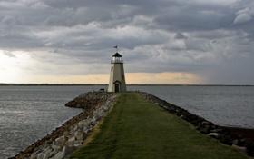 Картинка море, тучи, маяк