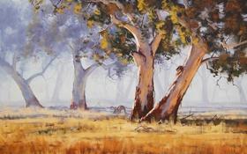 Обои РИСУНОК, АРТ, ДЕРЕВЬЯ, ARTSAUS, AUSTRALIAN GUM TREE, ЖИВОТНЫЕ