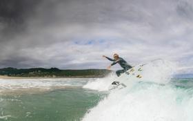 Обои волны, пляж, облака, брызги, серфер, серфинг, экстремальный спорт