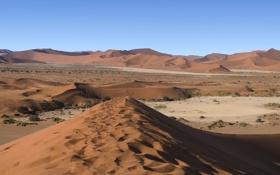 Обои Небо, Песок, Фото, Горизонт, Пустыня, Панорама, Кусты