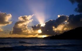 Картинка море, небо, солнце, облака, лучи, пейзаж, закат