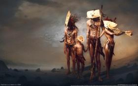 Обои аборигены, маски, project dust