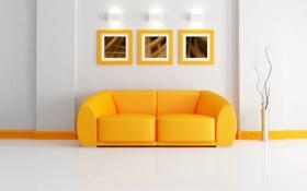 Обои диван, лампа, картины, ваза