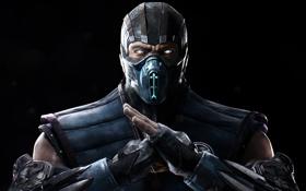 Обои Экипировка, Sub-Zero, Взгляд, Маска, Саб-Зиро, Warner Bros. Interactive Entertainment, Mortal Kombat X