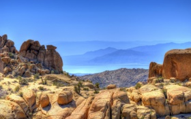 Картинка море, небо, вода, горы, природа, камни, скалы