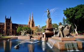 Картинка небо, деревья, парк, Австралия, фонтан, Сидней, скульптура