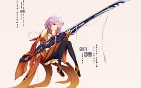 Картинка пустота, меч, Inori Yuzuriha, Guilty Crown, Корона греха, Инори