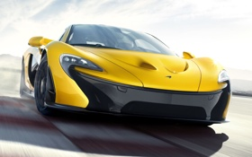 Обои желтый, Concept, передок, МакЛарен, концепт, суперкар, фон