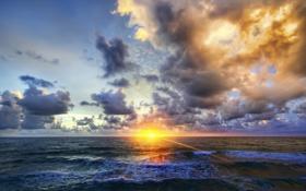 Обои волны, пейзаж, закат, природа, океан