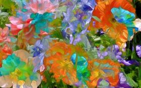 Обои линии, цветы, природа, рендеринг, лепестки, сад
