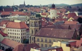 Картинка город, фото, здания, дома, размытость, архитектура