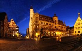 Картинка ночь, огни, дома, Германия, площадь, фонари, мостовая