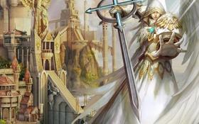 Обои игра, крылья, Город, Ангел, Меч, Heroes 5, Герои 5