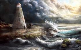 Обои камни, маяк, башня, волны, море, солнечные лучи, арт