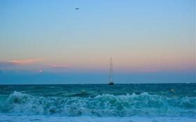 Картинка море, яхта, закт