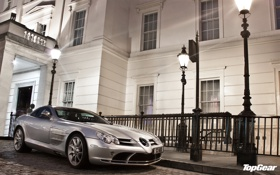Обои фон, McLaren, Mercedes-Benz, SLR, серебристый, Мерседес, фонари