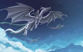 Обои небо, облака, полет, фантастика, крылья, драконы, арт