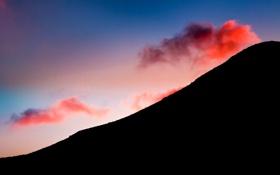 Обои небо, облака, закат, красное, гора, силуэт