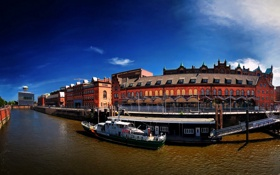 Картинка небо, город, река, германия, набережная, рейн, гамбург