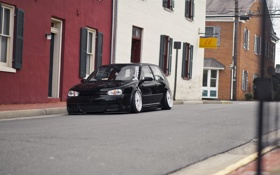 Картинка city, black, R32, tuning, gti, BBS