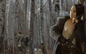 Обои лес, девушка, оружие, сигарета, солдаты, патроны, берёзы