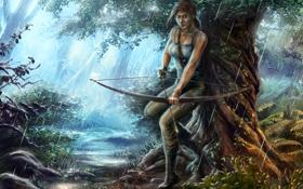 Картинка лес, дождь, лук, Tomb Raider, Лара Крофт, Lara Croft
