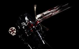 Картинка фон, кровь, рука, меч, доспехи