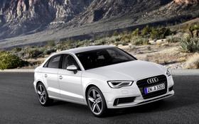 Картинка Audi, Ауди, Белый, Машина, Лого, Капот, Седан