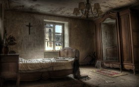 Обои кровать, окно, шкаф