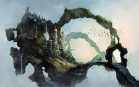 Обои дорога, небо, птицы, замок, верблюд, восток, ступеньки