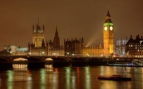 Картинка ночь, мост, огни, река, Англия, Лондон, башня