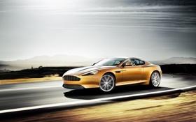 Обои Aston Martin, скорость, размытие, астон мартин, Orange, cars, auto