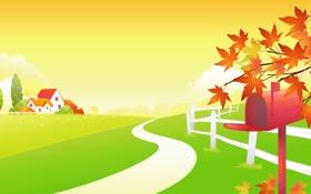 Обои осень, листья, облака, деревья, дом, ограда, дорожка