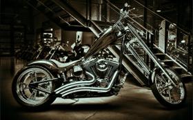 Картинка сепия, мотоцикл, хром, bike, кастом, custom, harley