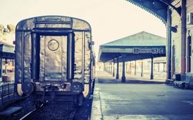 Картинка рельсы, вокзал, станция, вагон, скамейки