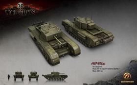 Обои танк, СССР, танки, рендер, WoT, World of Tanks, Churchill