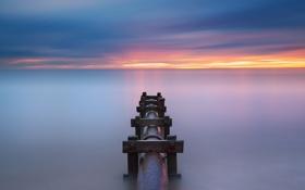 Обои море, закат, труба