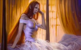 Обои платье, кровать, romantically apocalyptic, рыжая, романтика апокалипсиса, девушка, alexiuss