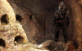 Обои солнце, череп, the witcher, девушка, мужчина, тени, ведьмак
