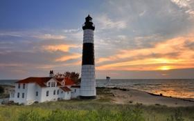 Обои закат, маяк, море