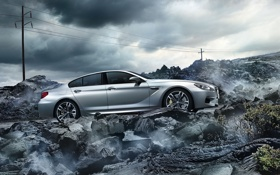 Обои BMW, Clouds, Sky, Rock, Coupe, Gran Coupe, Tuning